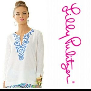Lilly Pulitzer 100% linen blouse embroidered